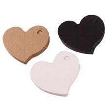 50 adet fiyat etiketi kalp şekli konfeksiyon etiketleri Kraft kağıt kartı düğün Favor hediye etiketi DIY etiket parti Favor 4.5*4cm