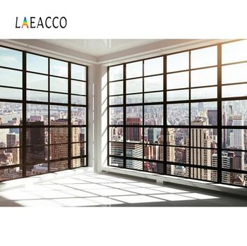 Laeacco Photo Background View House French Window Sunlight City Corner Scenic Photography Backdrop For Photo Studio 150x220cm london city night view backdrop london bridge photography background outdoor shooting props