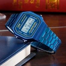QW Sports 2019 LED Digital Waterproof Quartz Wristwatch Golden Wrist Watch Women Men montre reloj relogio Military clock Watch цена и фото