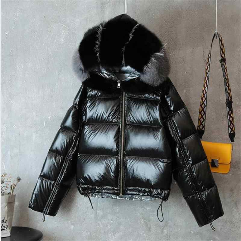 2019 Female White Duck Down Jacket Real Fur Coat Women Winter Jacket Down Parka Real Fox Fur Collar Thick Warm Winter Coat Women