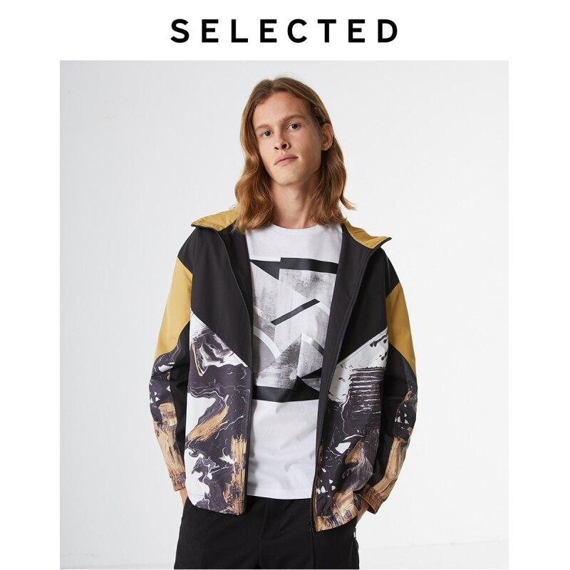 SELECTED Men's Psychedelic Printed Hooded Dropped-shoulder Jacket S|4193OM534