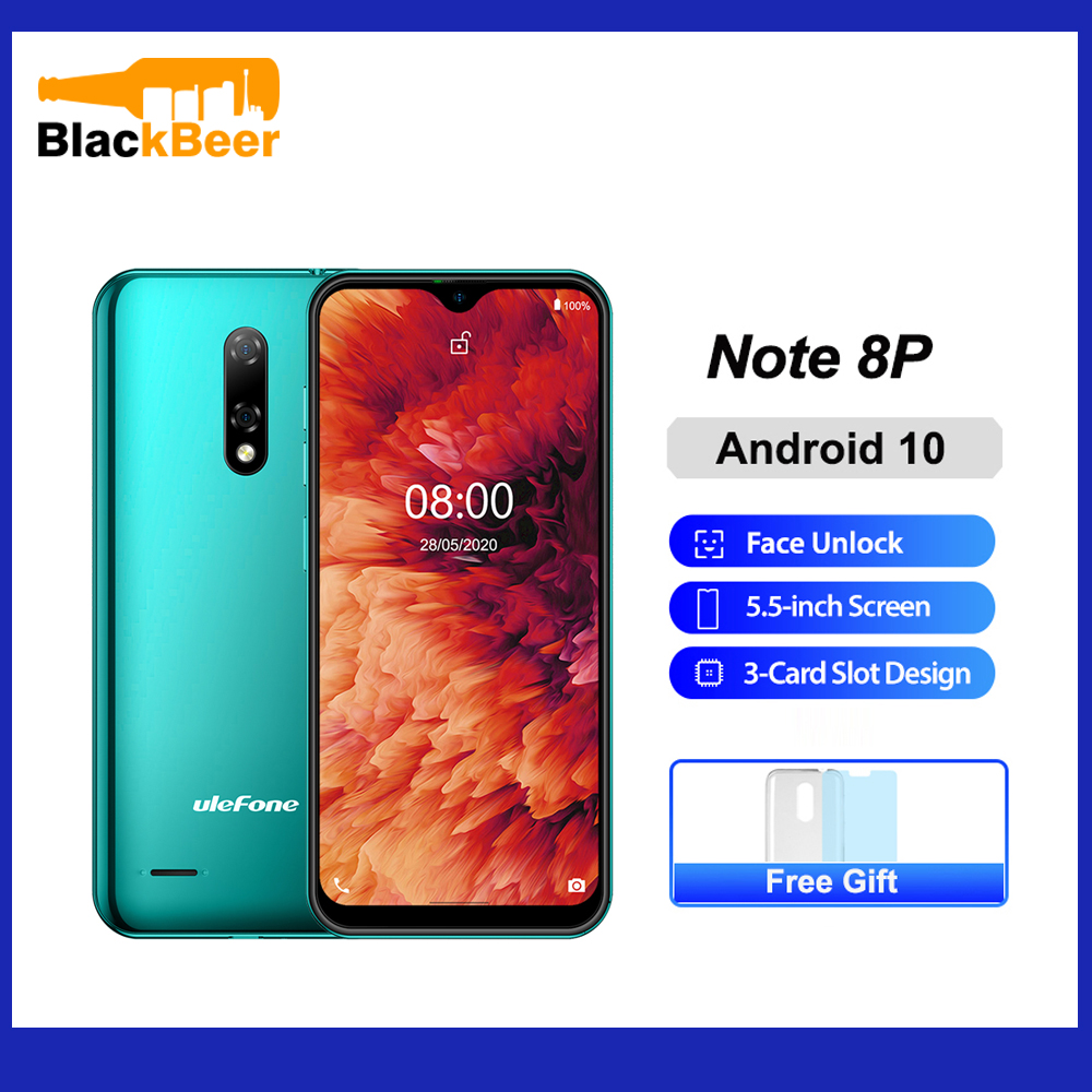 Ulefone Note 8P 5.5 Inch Mobile Phone Android 10 Quad Core Smartphone 2GB RAM 16GB ROM 4G Celular Cellphone 2700mAh Face Unlock
