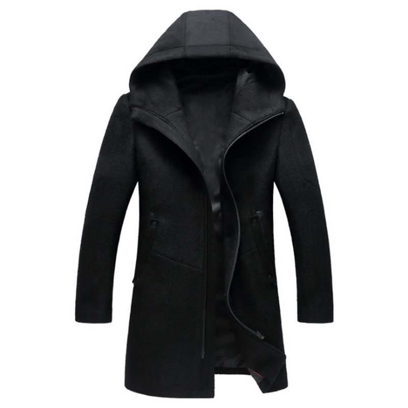 Autumn Winter British Style Men's Wool Coat New Design Zipper Long Trench Coat Brand Clothing Top Quality Hooded Woolen Coat Men