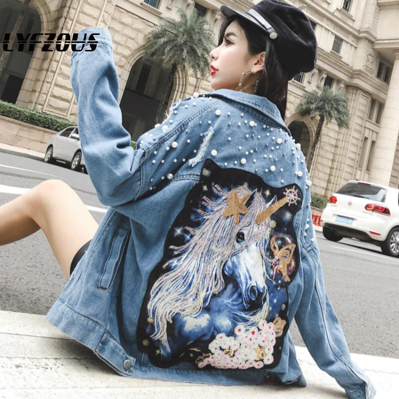 LYFZOUS Women Denim Jacket Unicorn Pearls Patch Jeans Jacket Heavy Beading Sequins Frayed Ripped Holes Denim Coat Outwear