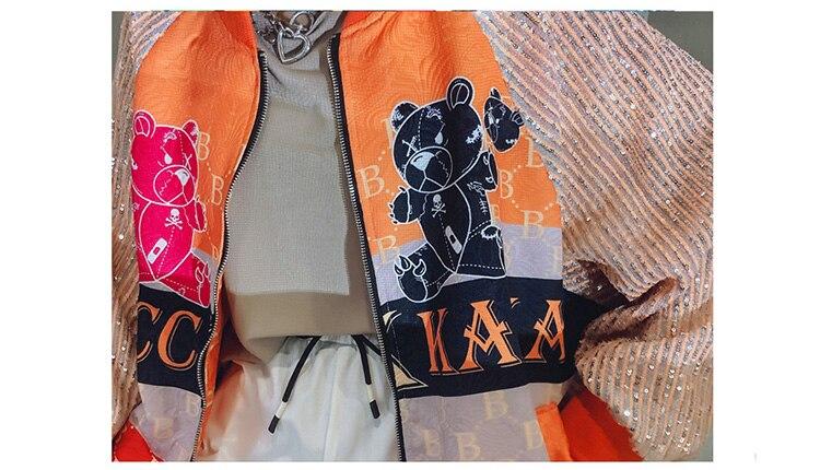 H0e9f7505ece14a7286543cac2e756315C 2021 Spring Women Long Sequins Print Patchwork Loose Coat