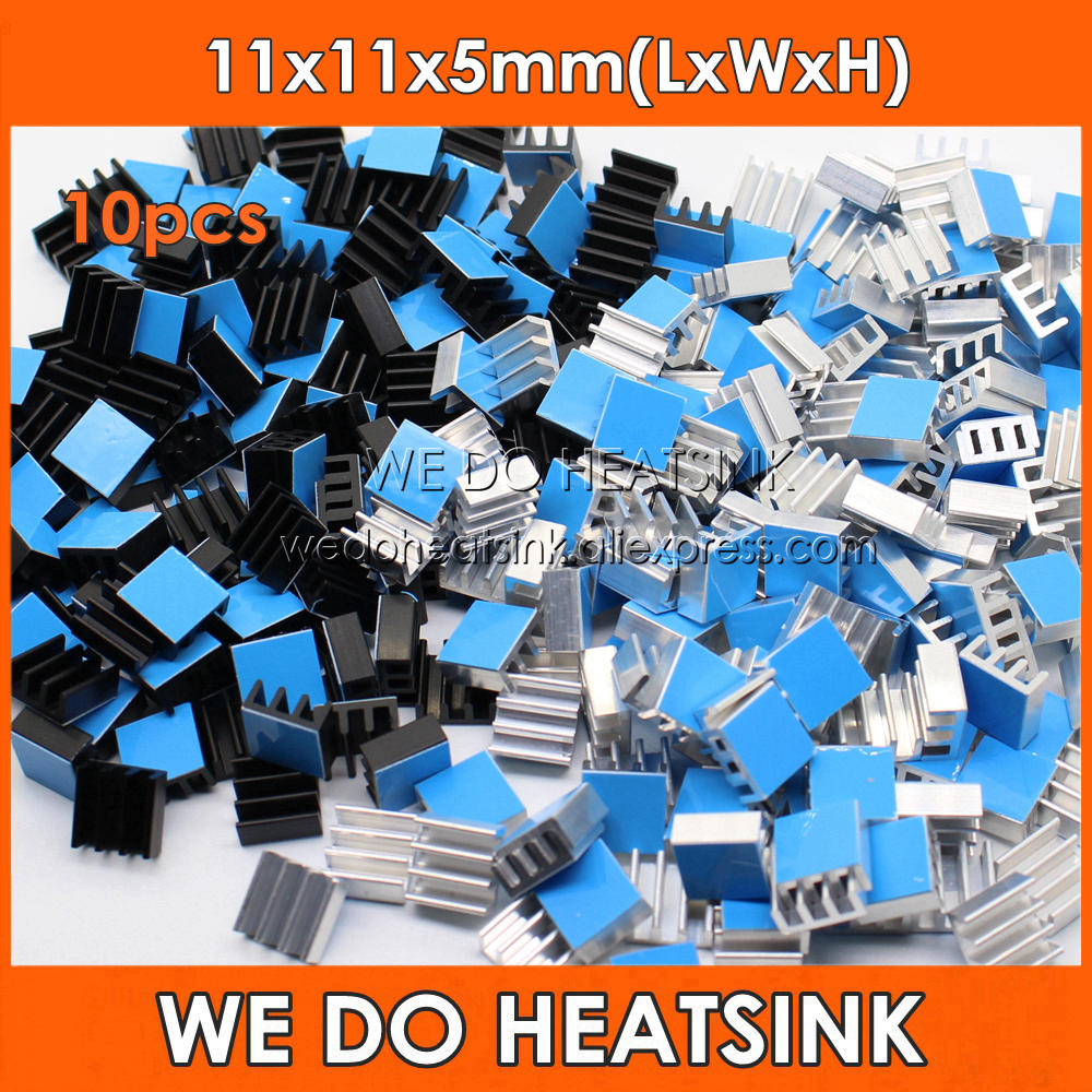 WE DO HEATSINK 10pcs Aluminum Heatsink 11*11*5mm Electronic Chip Radiator Cooler DIY With Thermal Double Sided Adhesive Tape