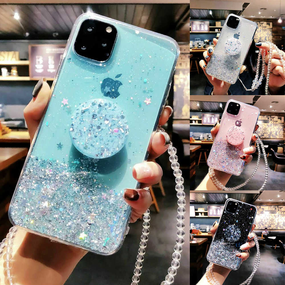 Bling Glitter Case Voor Iphone 11 Pro Max 11 Pro 11 Xs Xr X Xs Max 8 7 6 S 6 Plus Slim Case Cover Met Houder Stand Case Socket