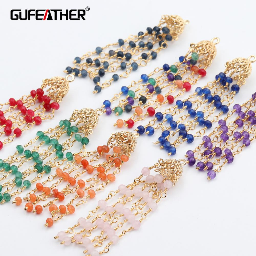 GUFEATHER L217,jewelry Accessories,tassel Chain,18k Gold Plated,natual Stone,hand Made,diy Earring,jewelry Making,2pcs/lot
