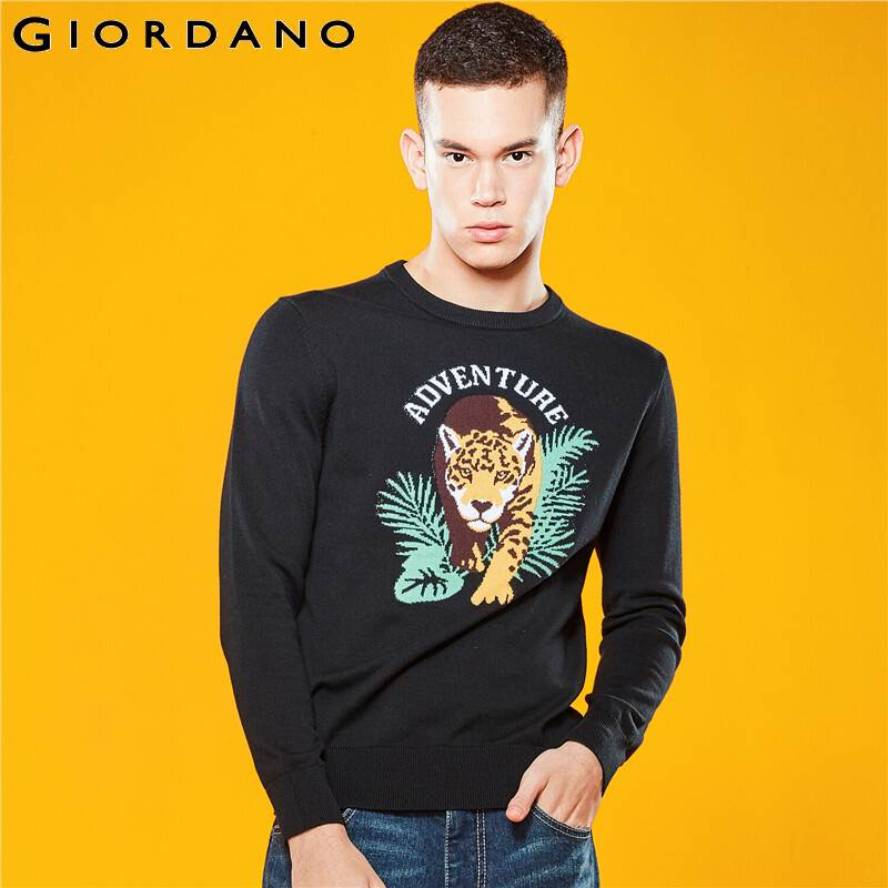 Giordano Men Sweaters Graphic 12 Needle Knitting Sweater Animal Crewneck Long Sleeve Blusa De Frio Masculino 01059879