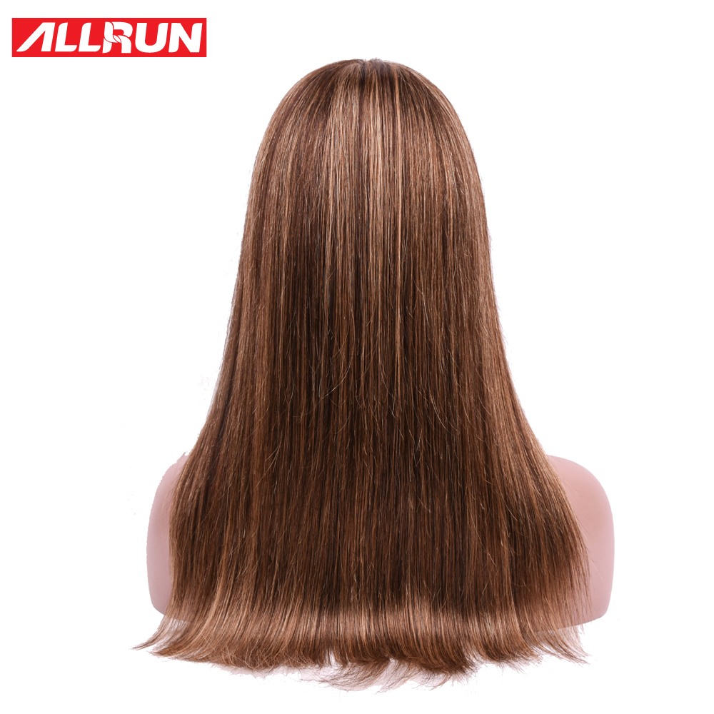 ALLRUN Brazilian Human Hair Wigs With Bangs Straight Hair Wigs For Women Machine Ombre P4/27 Pre Colored Remy Machine Lace Wigs