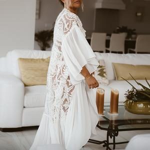 Image 3 - Mesh cover ups 2020 White beach wear women Ruffles kimono swimsuit cover up Long beach dress Summer bathing suits bathers new
