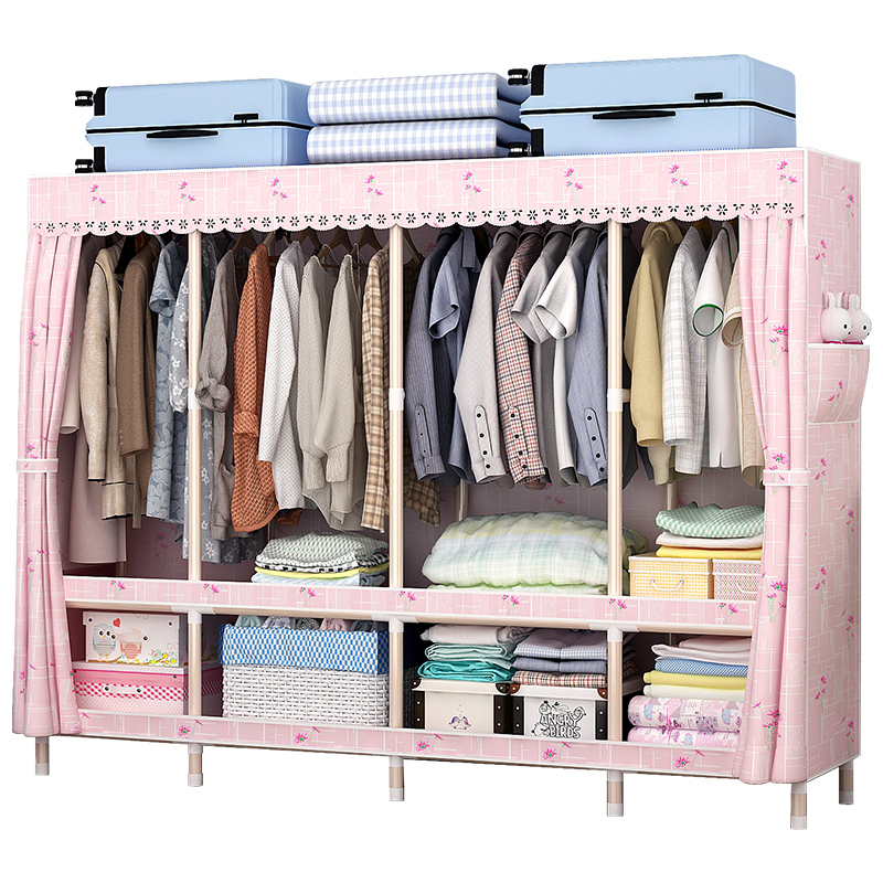 Wardrobe simple cloth wardrobe steel pipe thickened steel frame thick double storage home wardrobe economy