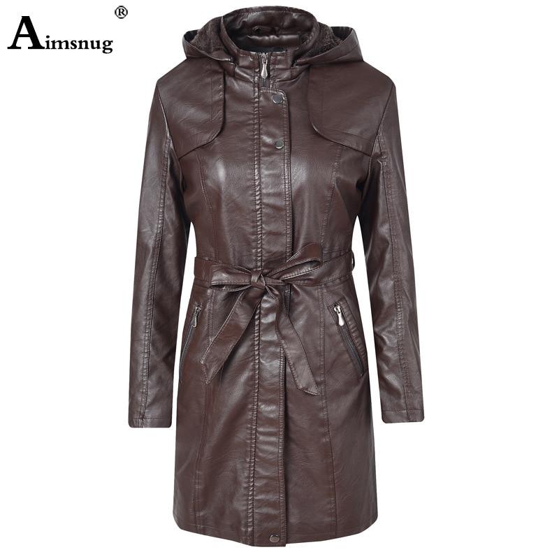 2019 Autumn Winter PU   Leather   Coat Hooded Jacket Women Fashion Belt Slim Patchwork Long Jacket Zipper Motorcycle Tunic Outerwear
