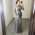 YQLNNE Couture 2020 коллекция серый мусульманских стразы вечерние платья с высоким воротом Dubai длинный рукав платье русалки для Для женщин вечерние