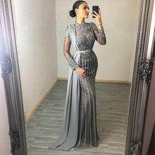 YQLNNE Couture 2020 Sammlung Grau Muslim Strass Abendkleider High Neck Dubai Langarm Meerjungfrau Kleid Für Frauen Party