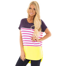 Goocheer Vintage Colorblock Stripped T Shirt New Fashion Clothes for Women Summer O Neck Short Sleeve Tops Streetwear Hot Sales