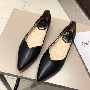 Image 2 - 2020 NEWEST Gray Basic Women Ballet Flats Shoes Pointed Toe Spring Autumn Woman Casual Loafers Soft Ladies Work Single Shoes