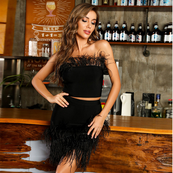 Ocstrade Sexy Feathers Strapless 2 Piece Bandage Dress Women 2020 Summer Black Two Pieces Bandage Dress Bodycon Club Party Dress ocstrade suede strapless bandage dress 2020 new arrival summer women sexy black bandage dress bodycon midi club party dresses