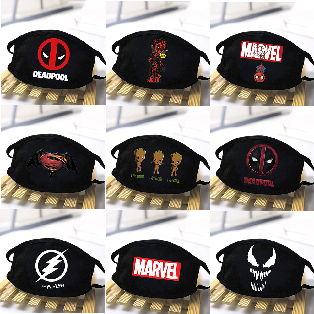 Marvel Adult Mask Deadpool Gtoot Anti Dust Masks Venom Washable Protective Masks Breathable Funny Man Women Masque