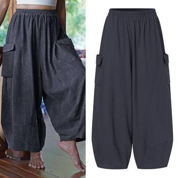 VONDA Vintage Casual Loose Long Trousers Fashion Women Solid Wide Leg Pants Autumn Elastic Waist Pantalon Cotton Palazzo S-5XL 10