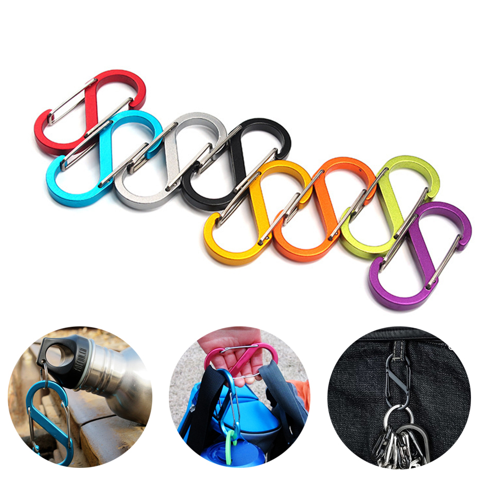 10PCS PACK Locking Key Holder S-Biner Slidelock Dual Carabiner Key Holder Aluminum Carabiners Clips Climbing Keychain Hiking