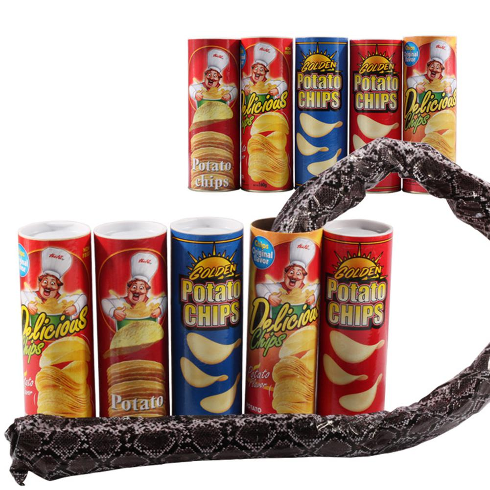 Kuulee Funny Tricky Toys Plastic Potato Chip Can Jump Fake Snake Joke Prank Fool's Day Toy