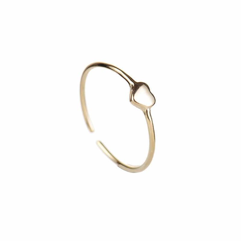 シンプルな女性の小さなハート調節可能なリングファッション 925 スターリングシルバーの愛のリングかわいいゴールドカラー約束の結婚指輪