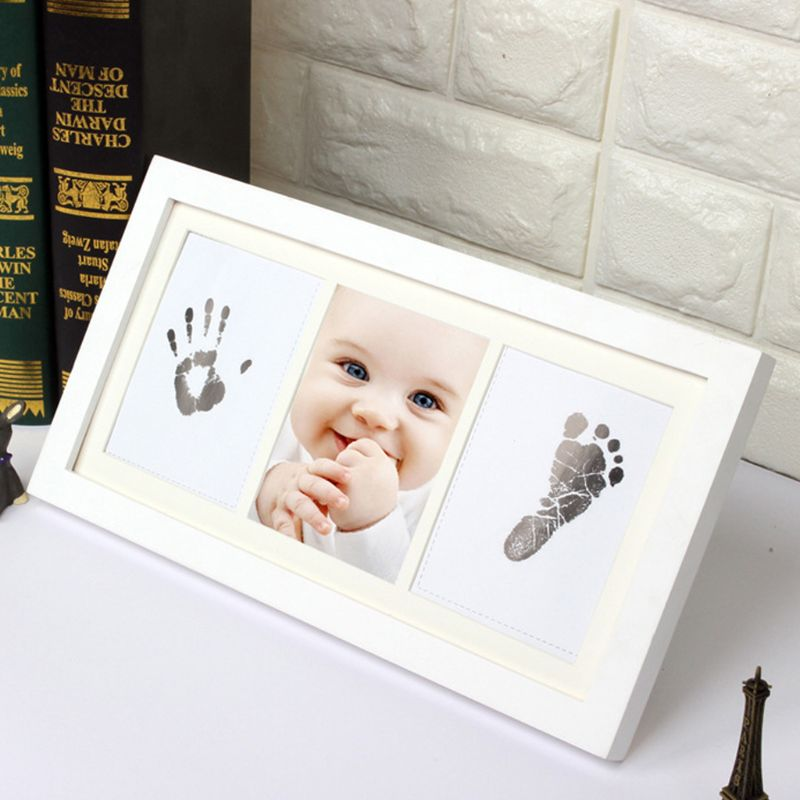 Creative DIY Baby Hand Foot Print Pictures Display Wood Photo Frame Souvenirs Commemorate Kids Growing Memory Baby Shower Gift