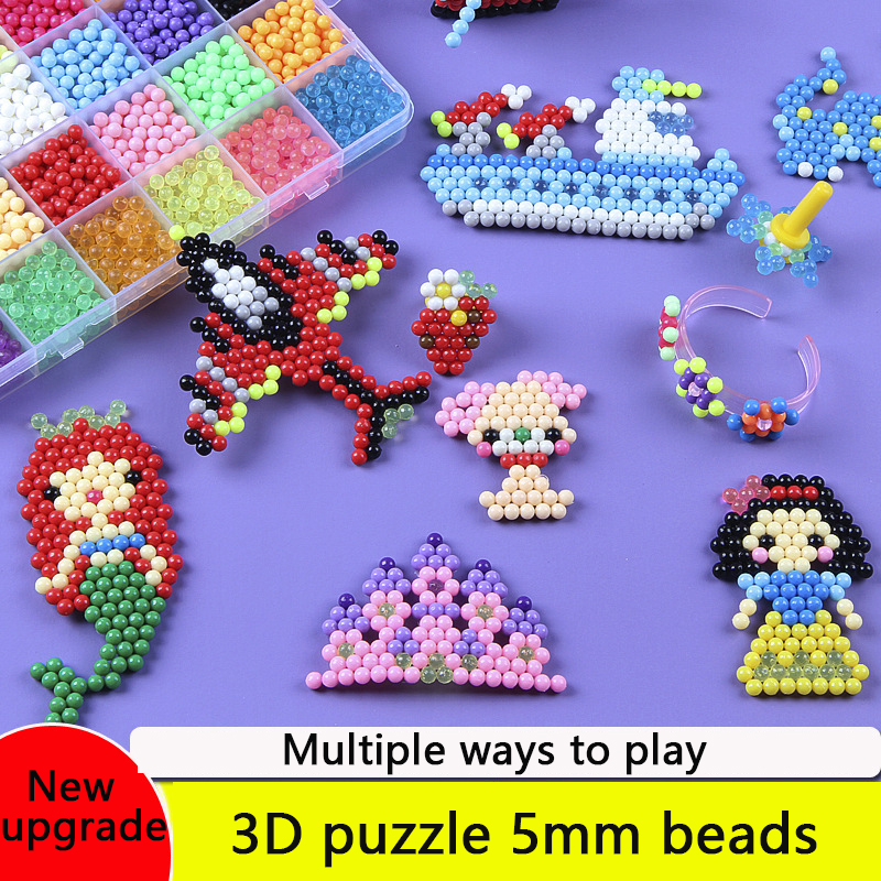 DIY Water Magic Beads Toys For  Girls Animal Molds Hand Making Puzzle Kids Educational Toys Boys Spell Children Replenish Beans