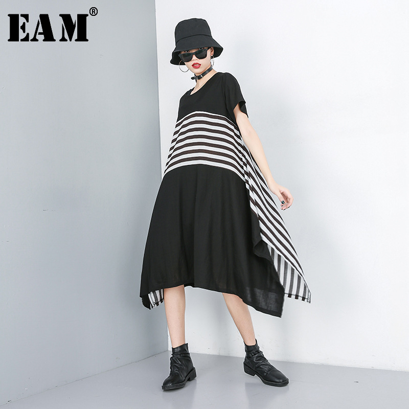 [EAM] 2020 New Spring Summer Round Neck Short Sleeve Black Striped Irregular Hem Chiffon Dress Women Fashion Tide JS379