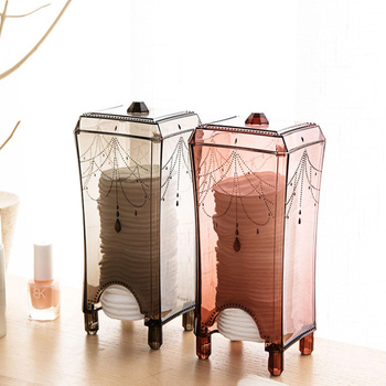 Transparent Cotton Pad Storage Box Makeup Organizer Plastic Box Organizador De Maquiagem Cotton Frame Cosmetic Ball Dustproof