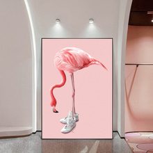 Modern Nordic Art Pink Flamingos Wear Sneakers Home Decor Oil Painting On Canvas Posters And Prints Wall Art For Living Room 2pic set paris city landmarks and cars modern painting hd prints on canvas wall art for living room canvas printings home decor