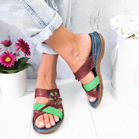 Women Summer Wedges Sandals Ladies PU Leather Flat Shoes Woman Platform Peep Toe Casual Female Beach Shoes 2020 New