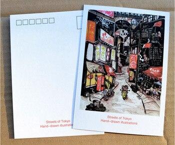 Japonya Tokyo Shinjuku sokak çizim el boyalı Retro tebrik kartı 1 adet narin klasik Retro geri dönüşümlü kartpostal hediye