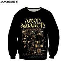 Jumeast брендовая Мужская/Женская толстовка с 3D принтом Amon Amarth футболка с длинным рукавом спортивный пуловер Весенние футболки