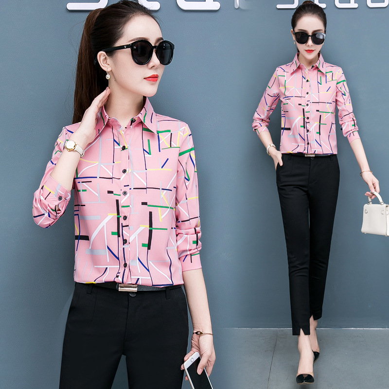 Women's Blouses Spring Autumn New Slim Button Lapel Long Sleeve Shirts Striped Printed Shirt Office Ladies Tops Blouse Blusas