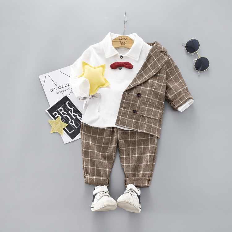 2019 ชายเสื้อผ้าสุภาพบุรุษชุดเด็กเสื้อแจ็คเก็ต + เสื้อ + กางเกง 3 ชิ้น/เซ็ตคริสต์มาสปีใหม่เด็กเด็กเด็กชุด