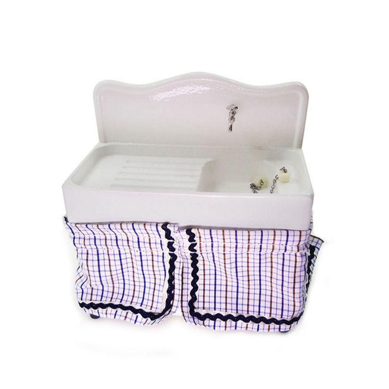 Free Shipping 1/12 Dollhouse Miniature Hand Wash Basin Sink Furniture Bathroom Decor Kids Toy