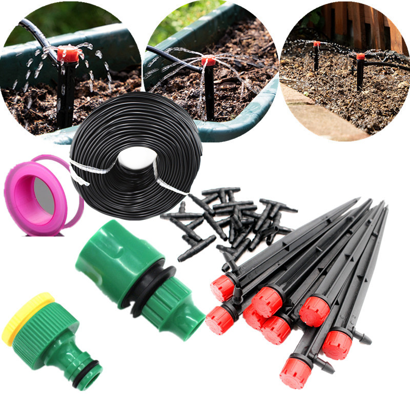 10/20/25m Red Adjustable Dripper Set Micro Drip Irrigation System Plant Self Watering Garden Water Irrigation Kits Gardening