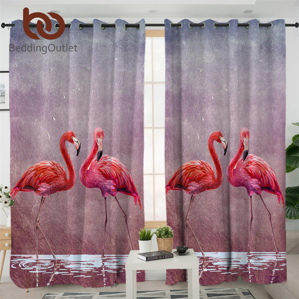 BeddingOutlet FlamingosLiving Room Curtains Watercolor AnimalPink Curtains Tropical Blackout Curtain ValentineBedroom Curtain
