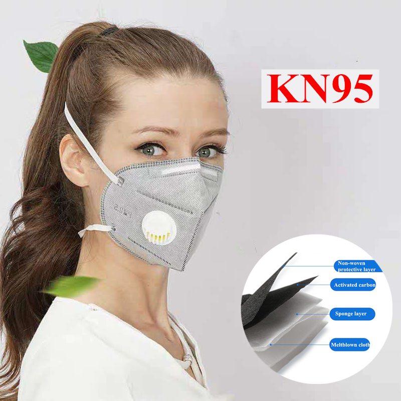 KN95 Adult Mask Vertical Nonwoven Air Valved Anti Dust Mask PM 2.5 95% Respirator Mouth Face Mask With Valve Gauze Filter Mask