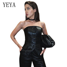YEYA Tube Top PU Leather Single-breasted Vest Sexy Off Shoulder Sleeveless Elegant Bodycon Bandage Mini Femme Clothes