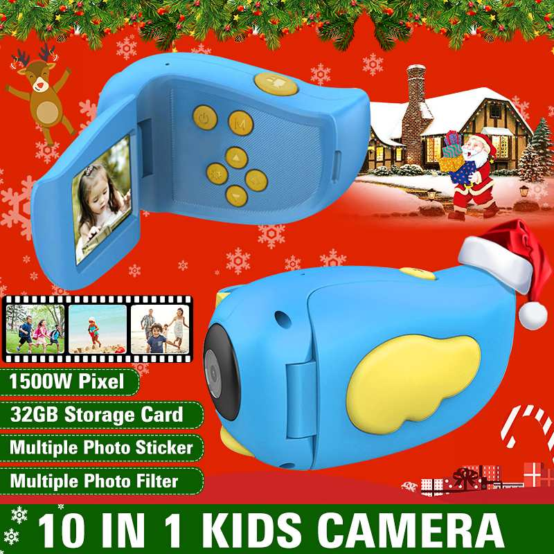 Full HD 1080P Children Mini Camera Portable Digital Video Photo Camera 32G Storage 2 Inch Screen Display Kid Photography Tool
