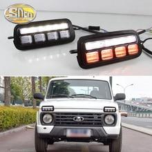 цена на LED Daytime Running Lights for Lada Niva 4x4 1995+ 2019 with Running Turn Signal Light Lamp DRL Fog Lamp