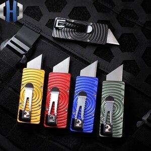 Image 2 - שני צעד נייר חותך חיצוני שדה הישרדות כלי סכין לחתוך פתוח אקספרס EDC כיס סכין