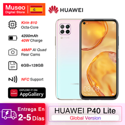 Global version Huawei P40 lite cellphone 6GB 128GB 48MP cameras AI 16MP front camera 6.4 ''FHD screen kirin 810 EMUI 10
