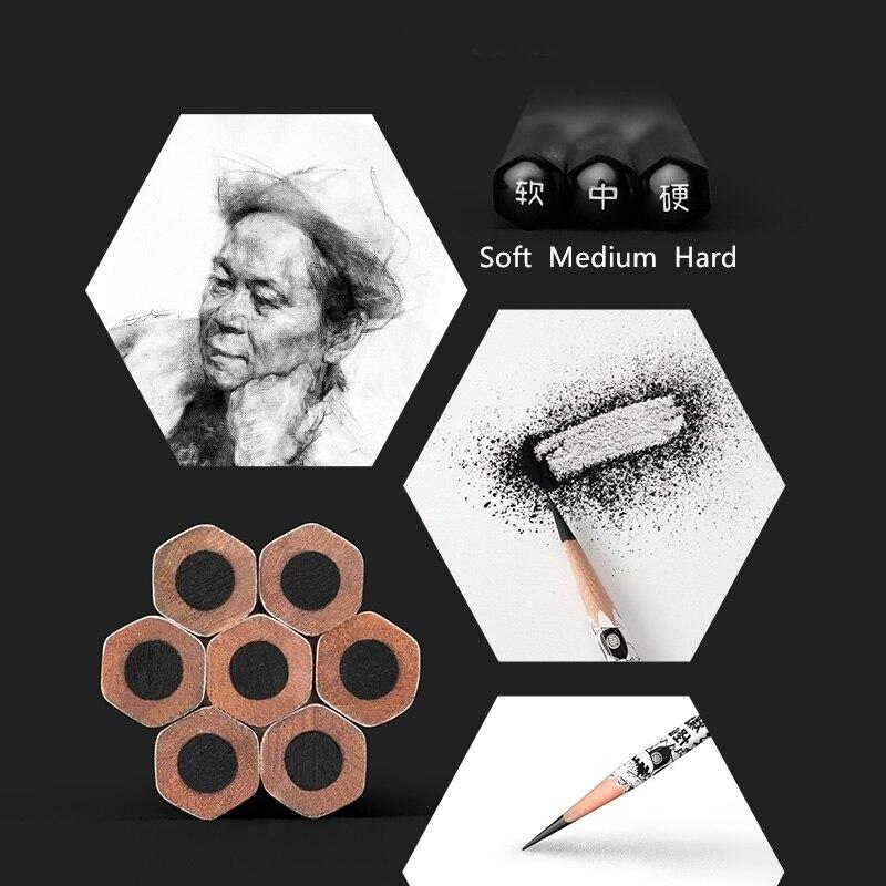 8 sztuk/pudło szkic ołówki węgiel miękkie średnio twarde 2H HB 2B 4B 6B 8B 10B ołówki do szkicowania artykuły biurowe