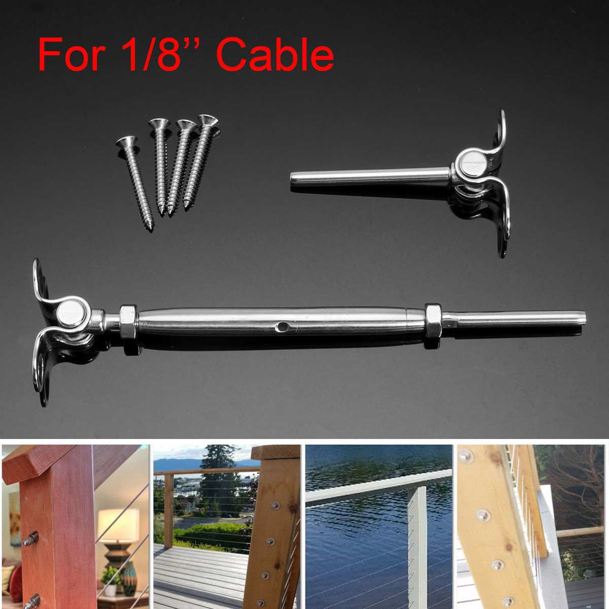 6Pcs/Set Deck Toggle T316 Stainless Steel Tensioner Set For 1/8'' Cable Railing Construction Tool Cable Railing Tensioner Kit