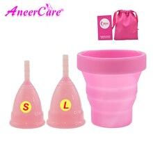 Copa Menstrual de higiene femenina y tazas vaginales de silicona de grado médico, esterilizador para mujeres, período Menstrual