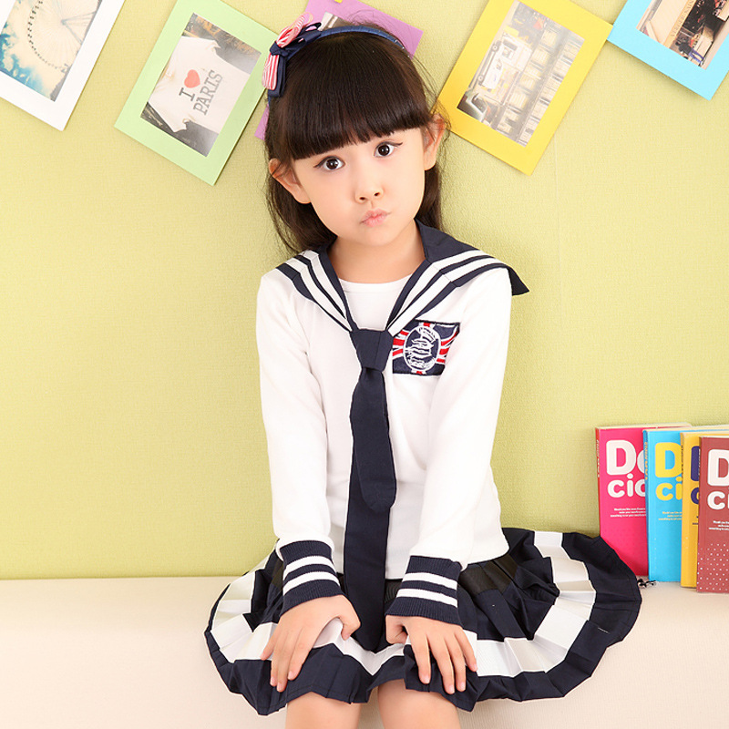2017 New Style Childrenswear Spring Summer Boys And Girls Suits Big Boy Autumn School Uniform Navy Style Young STUDENT'S Class C